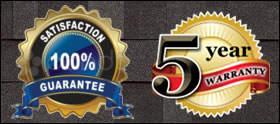 satisfaction guarantee and 5 year service warranty