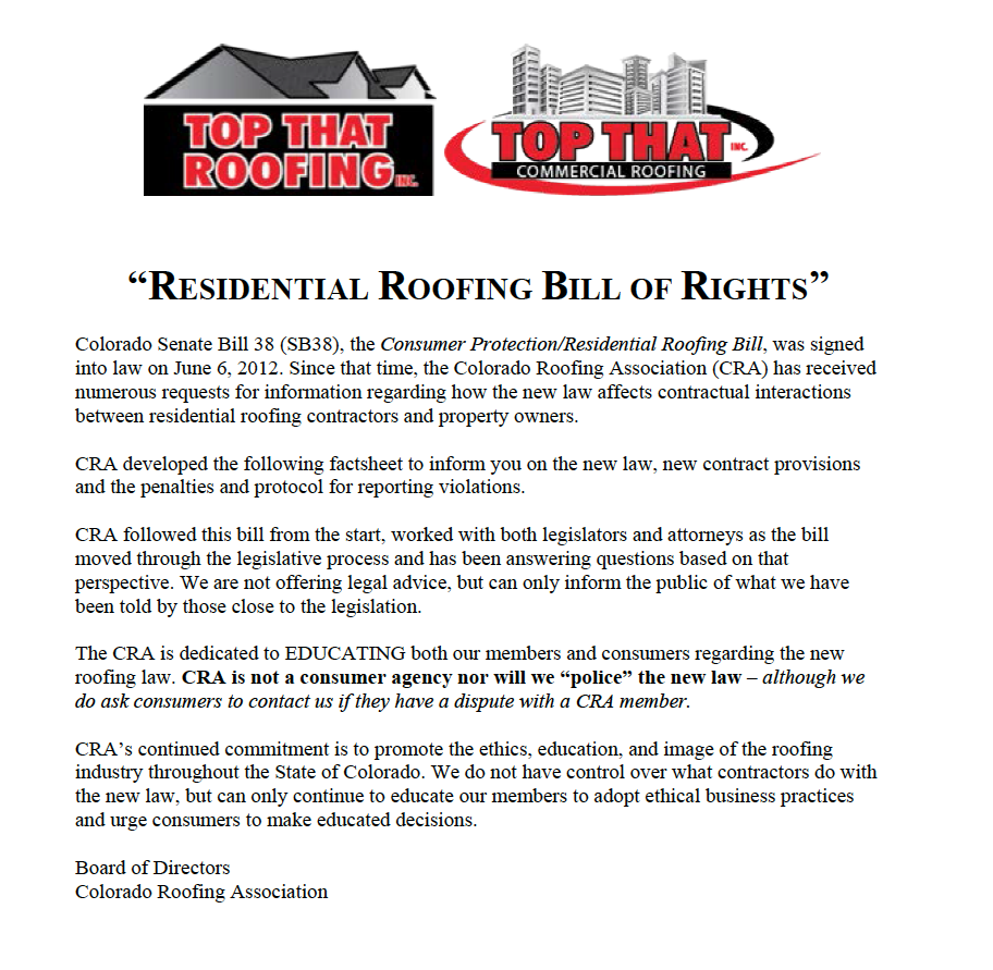 CO homeowner rights and roofer obligations
